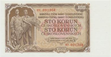 Československo, 100 Koruna 1953, tisk Praha, série HE, Hej.104b, BHK.92b