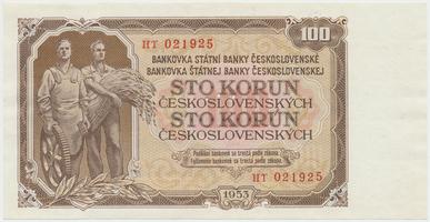 Československo, 100 Koruna 1953, tisk Praha, série HT, Hej.104b.S1, BHK.92b, perforace 3 m.d.