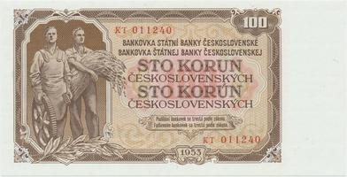 Československo, 100 Koruna 1953, tisk Praha, série KT, Hej.104b, BHK.92b