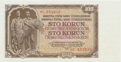 Československo, 100 Koruna 1953, tisk Praha, série MC, Hej.104b, BHK.92b