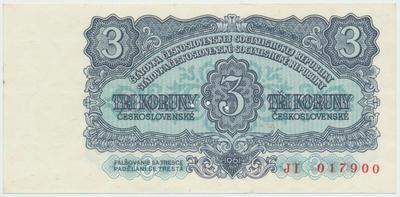 Československo, 3 Koruna 1961, série JT, Hej.107a.S1, BHK.95, perforace 3 m.d.