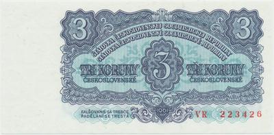 Československo, 3 Koruna 1961, série VR, Hej.107a, BHK.95