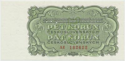Československo, 5 Koruna 1961, série AE, Hej.108a.S1, BHK.96, perforace 3 m.d.