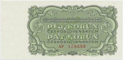 Československo, 5 Koruna 1961, série AP, Hej.108a.S1, BHK.96, perforace 3 m.d.
