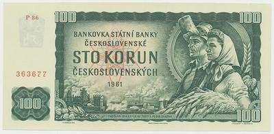 Československo, 100 Koruna 1961, série P, Hej.110bP, BHK.98c