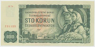 Československo, 100 Koruna 1961, I. vydání, série R 74, Hej.111bG, BHK.98e1, chybotisk - chybí číslice v letopočtu 1961
