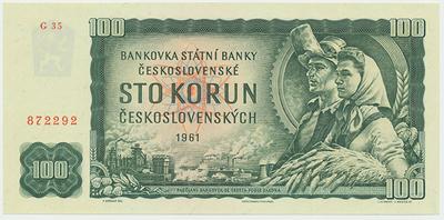 Československo, 100 Koruna 1961, II. vydání, série G, Hej.111bG, BHK.98e1