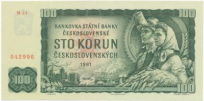 Československo, 100 Koruna 1961, II. vydání, série M, Hej.111bM, BHK.98e2