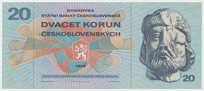Československo, 20 Koruna 1970, série L, Baj.100