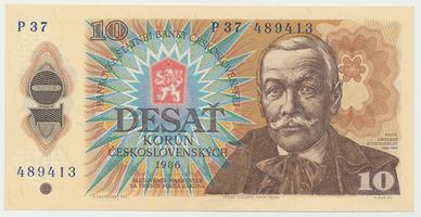 Československo, 10 Koruna 1986, série P, Baj.103