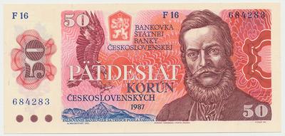 Československo, 50 Koruna 1987, série F, úzké sériové číslo, Hej.117a, BHK.104a