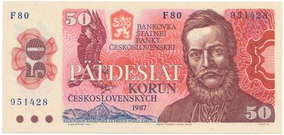 Československo, 50 Koruna 1987, série F, široké sériové číslo, Hej.117bF, BHK.104a