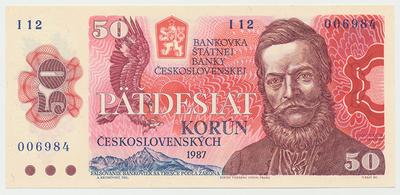 Československo, 50 Koruna 1987, série I, Hej.117bI, BHK.104b