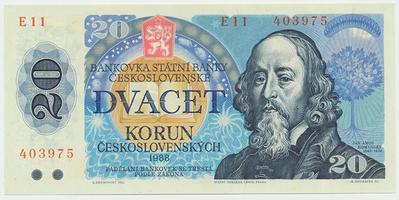 Československo, 20 Koruna 1988, série E, Hej.118aE, BHK.105