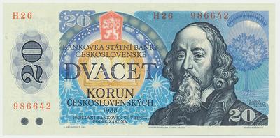 Československo, 20 Koruna 1988, série H, Baj.105