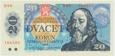 Československo, 20 Koruna 1988, vysoká série H 69, Hej.118aH, BHK.105