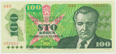 Československo, 100 Koruna 1989, Hej.119a, BHK.106