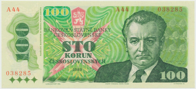Československo, 100 Koruna 1989, vysoká série A 44, Hej.119a, BHK.106