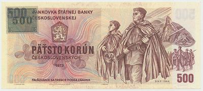 Česká republika, 500 Koruna 1973 + kolek (1993), série W, Baj.CZ2