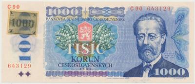 Česká republika, 1000 Koruna 1985 + lepený kolek (1993), poslední široká série C 90, Hej.CZ6bC, BHK.CZ3a1