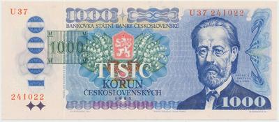 Česká republika, 1000 Koruna 1985 + tištěný kolek (1993), Baj.CZ3b