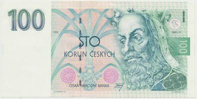 Česká republika, 100 Koruna 1993, série A (tisk Anglie), Hej.CZ8a1, BHK.CZ5a
