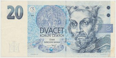 Česká republika, 20 Koruna 1994, série B (proužek vpravo), Baj.CZ10a