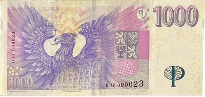 Česká republika, 1000 Koruna 2008, pěkné nízké číslo H 37  000023, Hej.CZ28aH