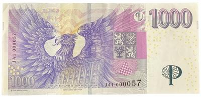 Česká republika, 1000 Koruna 2008, pěkné nízké číslo J 41  000057, Hej.CZ28aJ