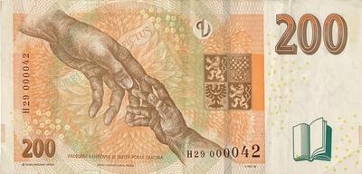 Česká republika, 200 Koruna 2018, pěkné nízké číslo H 29  000042, Hej.CZ32aH