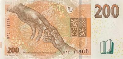 Česká republika, 200 Koruna 2018, hezké číslo H 42  111666, Hej.CZ32aH