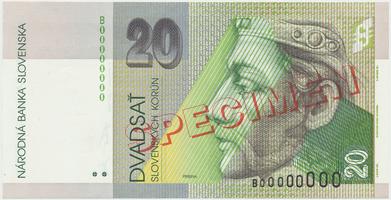 20 Koruna / 1. 6. 1995, B 00000000, bankovní vzor, Hej.SK13V1, BHK.SK7b    N/UNC