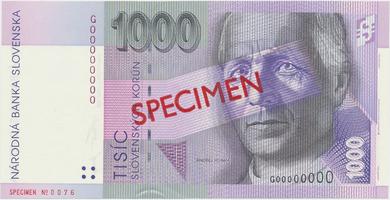 1000 Koruna / 1. 6. 1995, G 00000000, bankovní vzor, Hej.SK15V1, BHK.SK10b     N/UNC