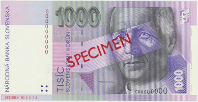 1000 Koruna / 1. 8. 1997, G 00000000, bankovní vzor, Hej.SK19V1, BHK.SK10c     N/UNC