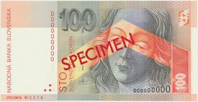 100 Koruna / 1. 10. 1997, D 00000000, bankovní vzor, Hej.SK20V1, BHK.SK8c    N/UNC