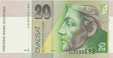 20 Koruna / 31. 8. 2001, náhradní série A, Hej.SK36a2, BHK.SK7eA   N/UNC