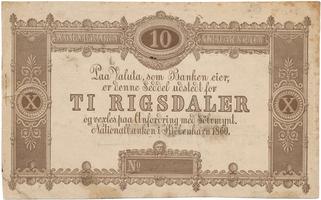 Dánsko, 10 Rigsdaler 1860, zkušební tisk, P.A63