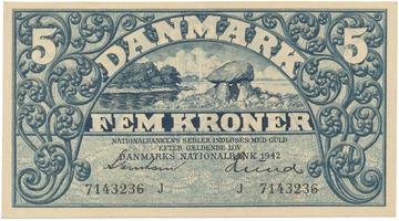 Dánsko, 5 Kroner 1942, P.30g