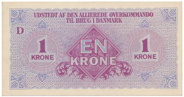Dánsko, 1 Krone (1945), vojenské vydání, P.M2