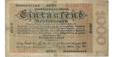 1000 Rtm/1923, Baj.D19, velmi vzácná   3-4/VG-G