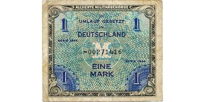 """1 M/1944, tisk USA """"F"""", 8-místný číslovač, """"Replacement note"""", Baj.AM 2b   3/VG"""