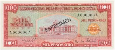Dominikánská republika, 1000 Pesos Oro 1975, anulát - ESPECIMEN, P.115s