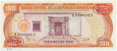 Dominikánská republika, 100 Pesos Oro 1984, anulát - MUESTRA, P.122s2