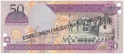 Dominikánská republika, 50 Pesos Oro 2002, anulát - ESPECIMEN/MUESTRA, P.170s2