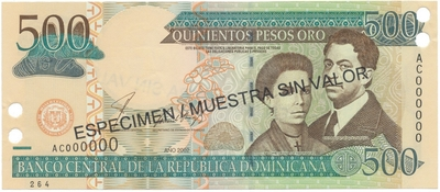 Dominikánská republika, 500 Pesos Oro 2002, anulát - ESPECIMEN/MUESTRA, P.172s1