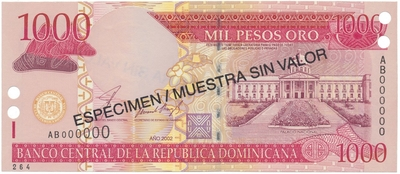 Dominikánská republika, 1000 Pesos Oro 2002, anulát - ESPECIMEN/MUESTRA, P.173s1
