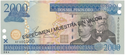 Dominikánská republika, 2000 Pesos Oro 2002, anulát - ESPECIMEN/MUESTRA, P.174s1