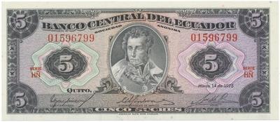 Ekvádor, 5 Sucres 1975, P.108a