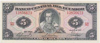 Ekvádor, 5 Sucres 1977, P.108a