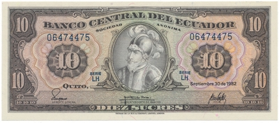 Ekvádor, 10 Sucres 1982, P.114b